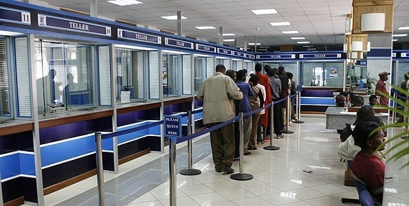 A customer queing into Family bank banking hall along Kenyatta Avenue in Nairobi. Fredrick Onyango