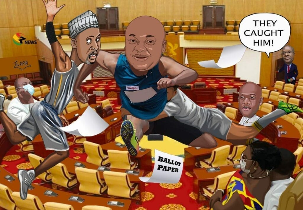 [Cartoon] Election of Speaker for the 8th Parliament: 'Democracy snatched'!