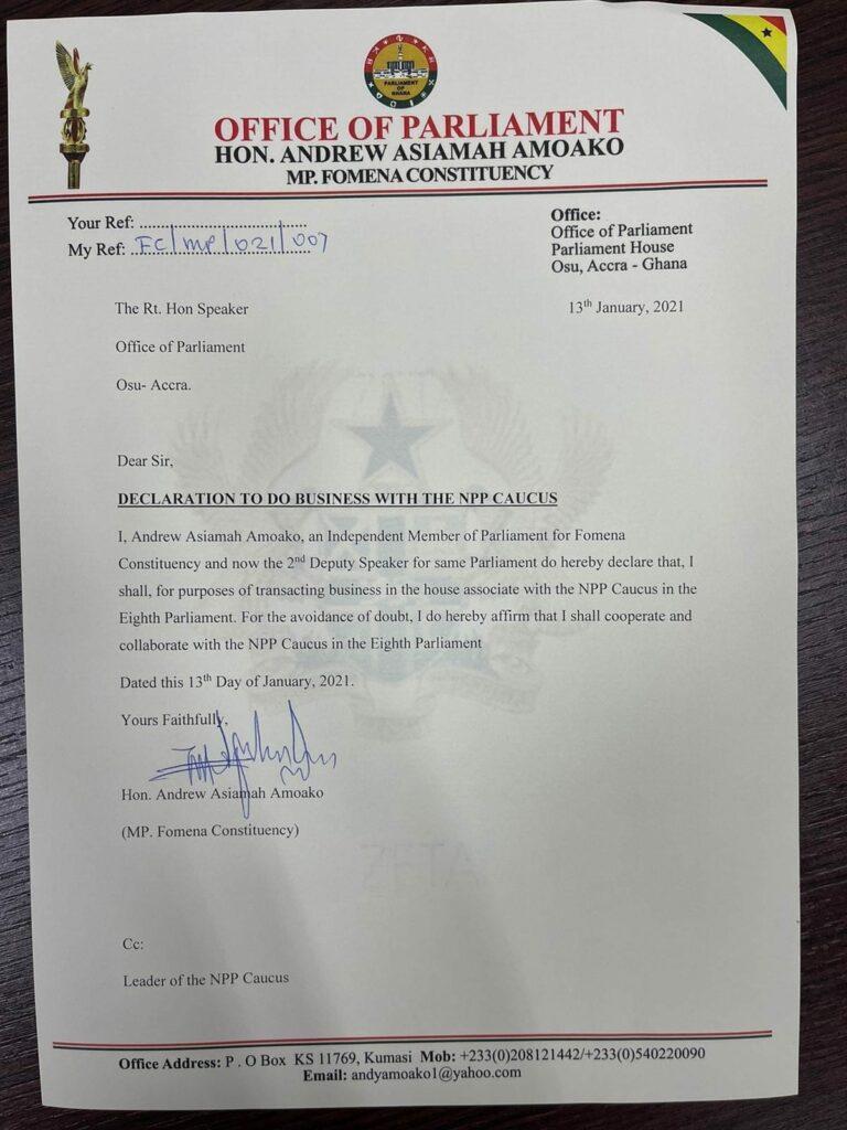 Fomena MP officially writes to Speaker to join NPP caucus