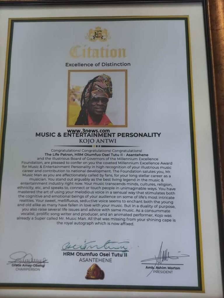 Kojo Antwi honoured at Millennium Excellence Awards