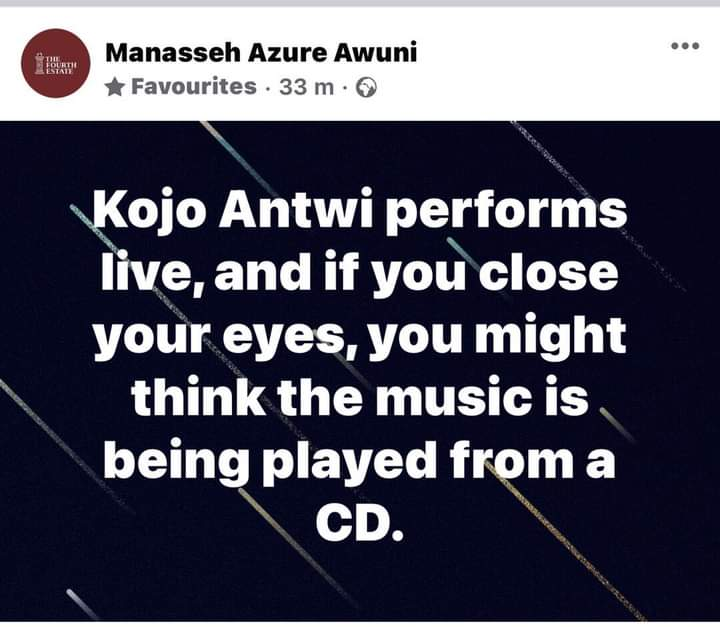 Manasseh hails Kojo Antwi's live performance at Millennium Excellence Award