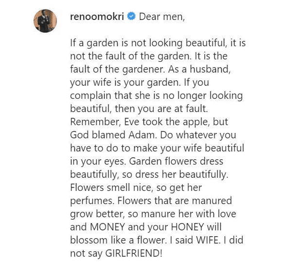 If your wife is no longer beautiful, it is your fault – Reno Omokri