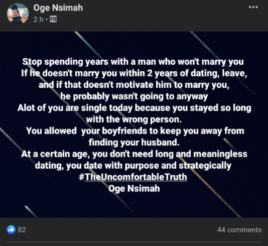 If he doesn't marry you within 2 years, leave him – Consultant advises women